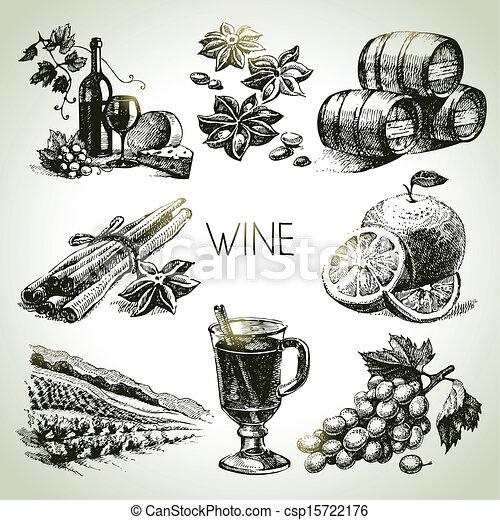 vino, set, vettore, mano, disegnato - csp15722176