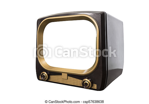 VIntage 1950s Television Isolated with Cut Out Screen - csp57638638