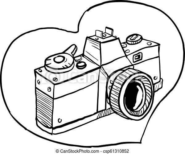 Vintage 35mm Slr Camera Heart Drawing Drawing Sketch Style