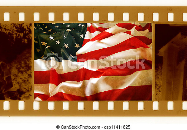 vintage 35mm with old USA flag - csp11411825