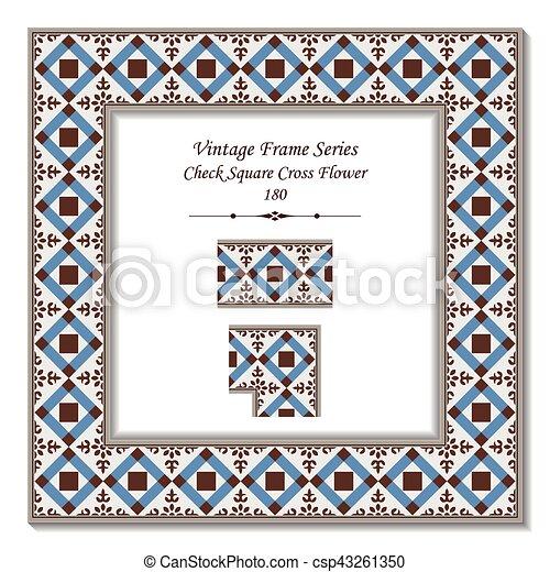 Vintage 3d frame of check square cross flower.