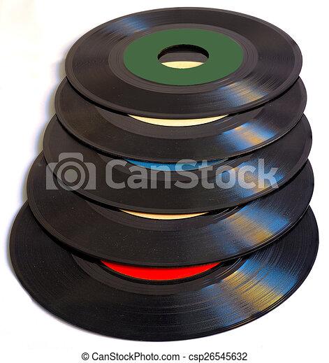 Vintage 45 RPM vinyl record albums - csp26545632