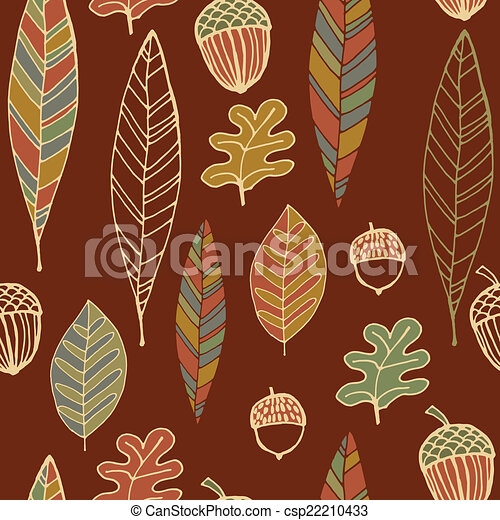 Vintage abstract autumn seamless leaves pattern - csp22210433
