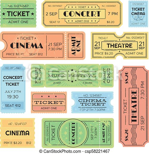 Vintage admitted cinema, music festival pass, train ticket. Isolated amusement admission tickets vector set - csp58221467