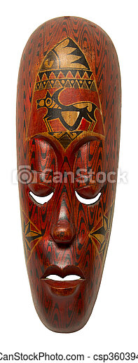 vintage african mask on a white background - csp36039413