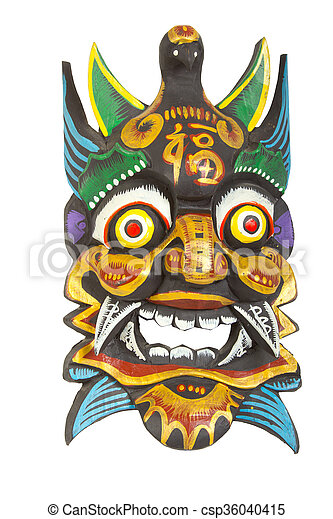 vintage african mask on a white background - csp36040415