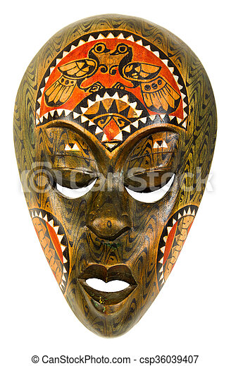 vintage african mask on a white background - csp36039407