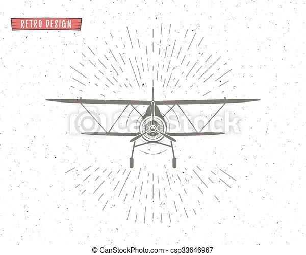 Vintage Airplane Background With Sunbursts Flying Emblem Biplane Label Retro Plane Wallpaper Design Elements Old Prints For T Shirt Aviation