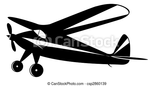 Vintage Airplane In Black And White Toner Vector Mode