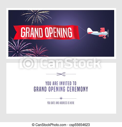 Vintage Airplane Grand Opening Banner Invitation
