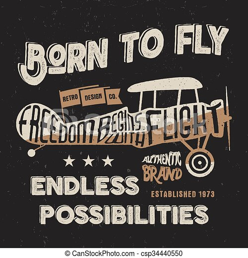 8eed890e Vintage Airplane Lettering For Printing. Vector Old School Aircraft Poster.  Retro Air Show T Shirt