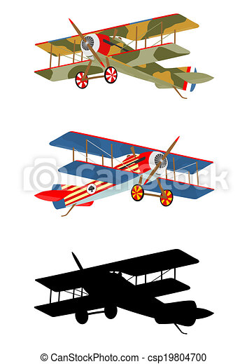 vintage airplane cartoon silhouette of vintage airplane on a white rh canstockphoto ca