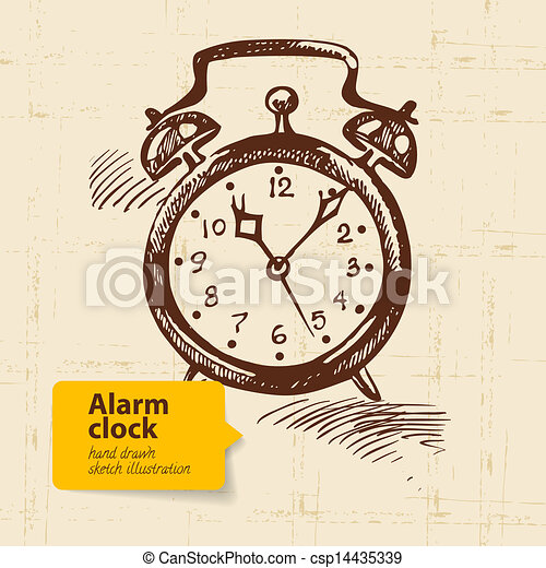 vector vintage alarm clock hand drawn