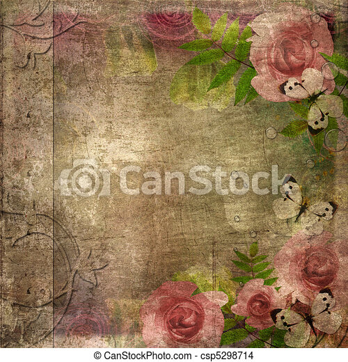 Vintage  album cover  with roses and space for text ( 1 of set) - csp5298714