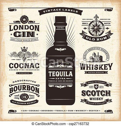 Vintage alcohol labels collection - csp27163732