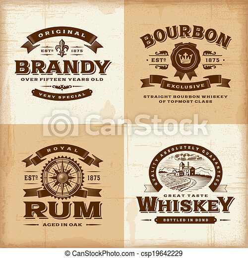 Vintage alcohol labels set - csp19642229