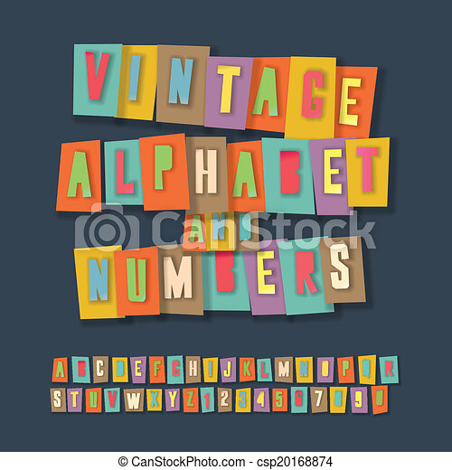 Vintage alphabet and numbers, collage paper craft design - csp20168874