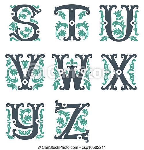 vintage alphabet. Part 3 - csp10582211