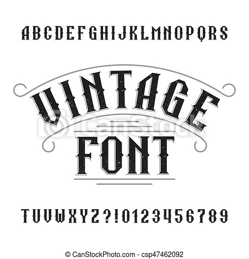 vintage alphabet retro distressed letters and numbers western font for labels headlines posters etc stock vector typeface for your design