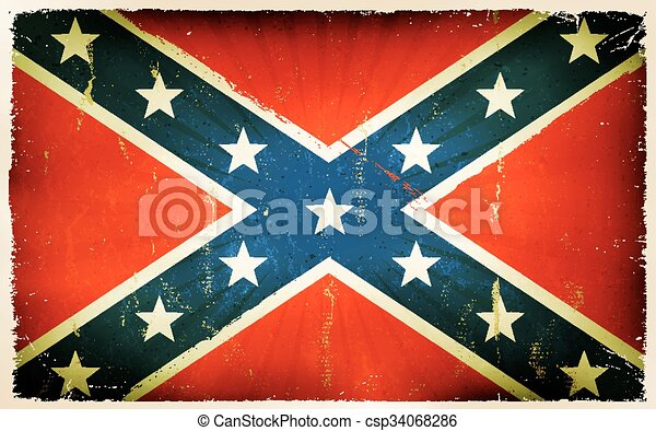 Vintage American Confederate Flag Poster Background - csp34068286