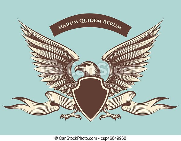 vintage american eagle mascot icon. vintage american eagle mascot vector  icon. eagle with shield, wings and ribbon.   canstock  can stock photo