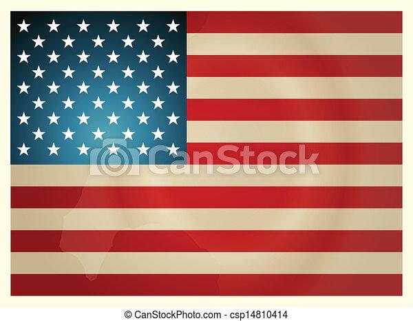 Vintage American Flag. Vector illustration. - csp14810414