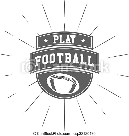 Vintage american football and rugby label, emblem and logo design with sunburst element. Hand drawn monochrome style with lettering. Football emblem template. Usa sports identity symbol. Vector - csp32120470