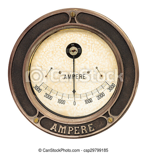 Vintage ampere meter isolated on white. Vintage round analog ...