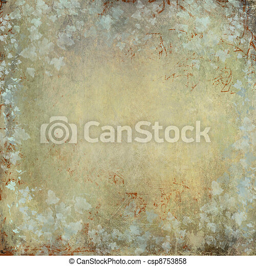 vintage and grunge texture with ivy foliage and faded graffiti o - csp8753858