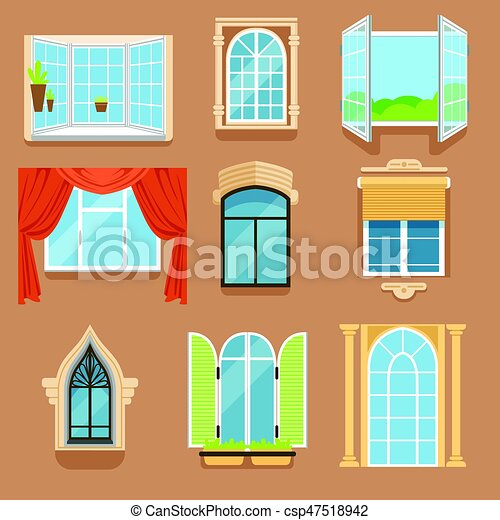 vintage window drawing. vector - vintage and modern windows set in different styles forms. window frames exterior view drawing a