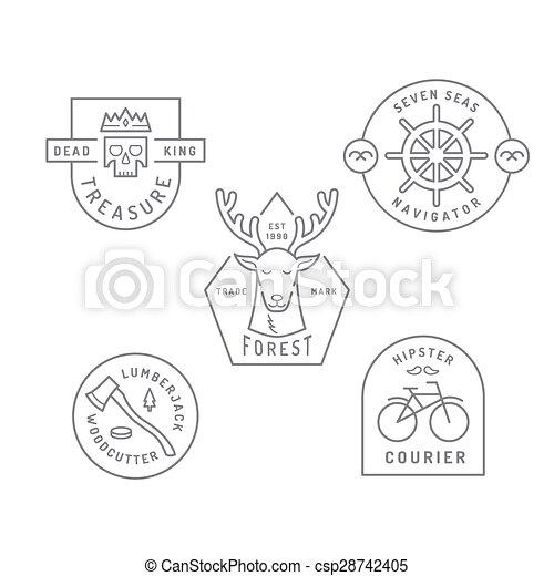 Vintage and retro style logos design - csp28742405