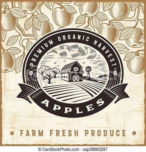 Vintage apple harvest label - csp38663297