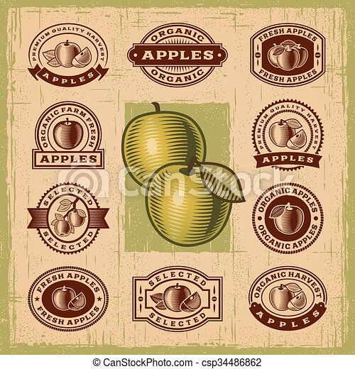 Vintage apple stamps set - csp34486862