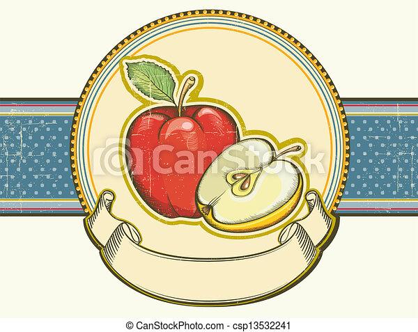 Vintage apples label on old paper background texture.Vector illu - csp13532241