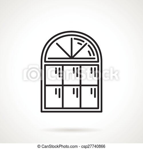 vintage window drawing. vector - vintage arched window icon drawing