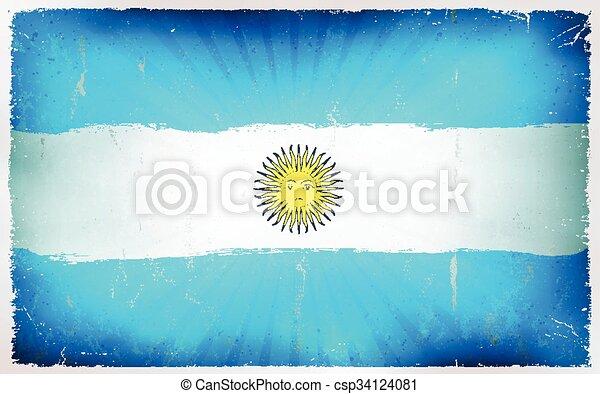 Vintage Argentina Flag Poster Background - csp34124081