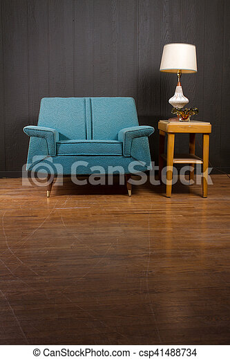 Vintage Arm Chair and Coffee Table - csp41488734