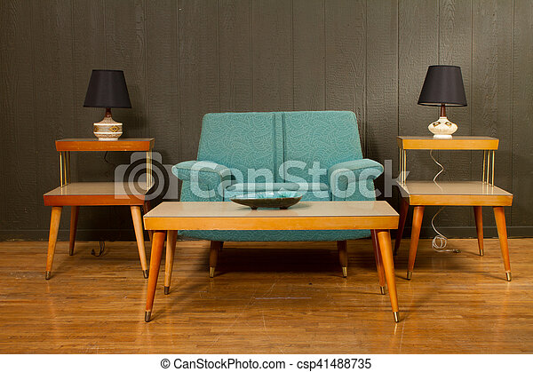 Vintage Arm Chair and Coffee Table - csp41488735