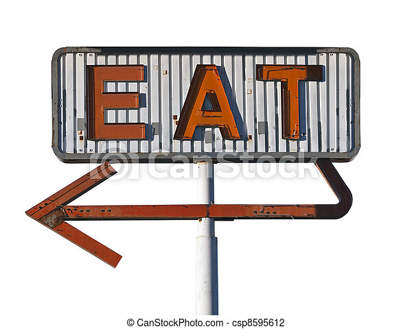 Vintage Arrow Eat Sign Isolated