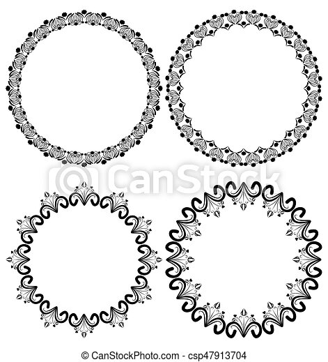 Vintage art deco circle frames in white and black outline.