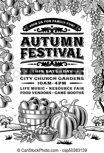 Vintage autumn festival poster black and white csp50383139