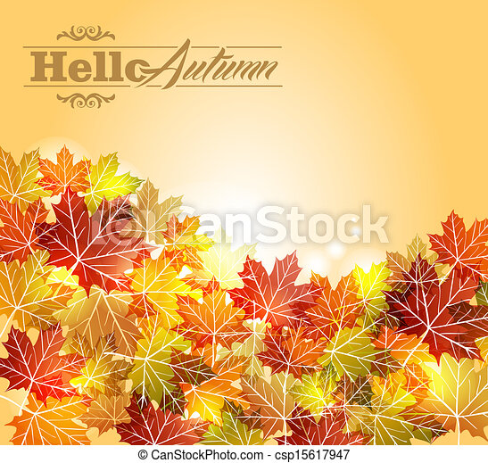 Vintage autumn leaves transparency background. EPS10 file. - csp15617947