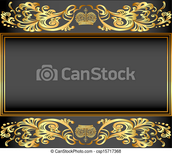 vintage background frame with gold ornaments and a crown - csp15717368