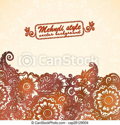 Vintage Background In Indian Henna Mehndi Style Vector Vintage