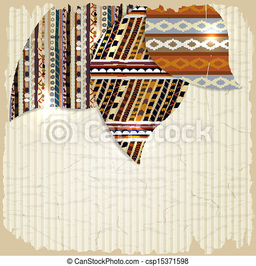 Vintage background with African paintings and grunge - csp15371598