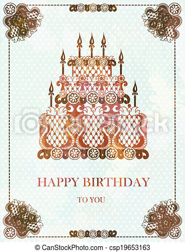 Clip Art Vector of Vintage background with birthday cake EPS10