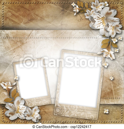 Vintage background with frame and flowers for congratulations and invitations - csp12242417