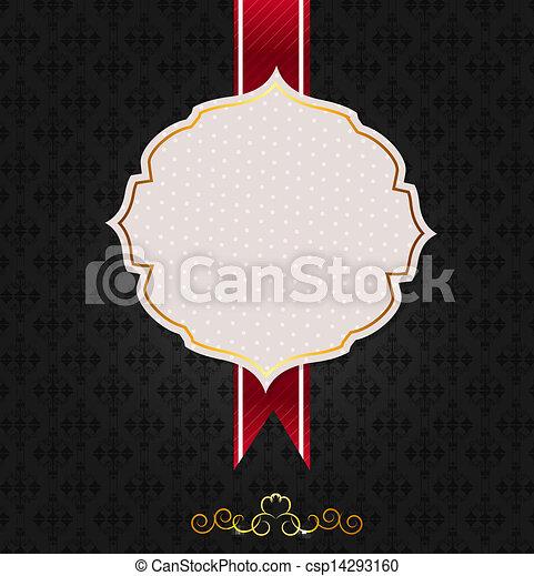 Vintage background with golden frame vector illustration - csp14293160