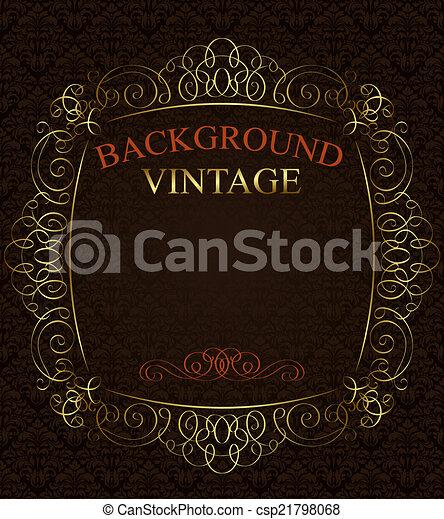 Vintage background with golden  frame - csp21798068