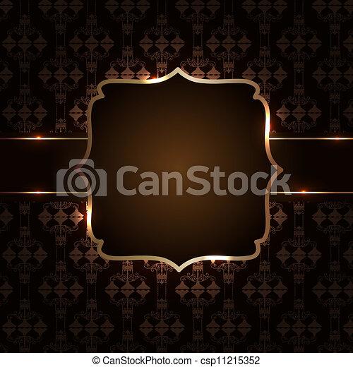 Vintage background with golden frame vector illustration - csp11215352
